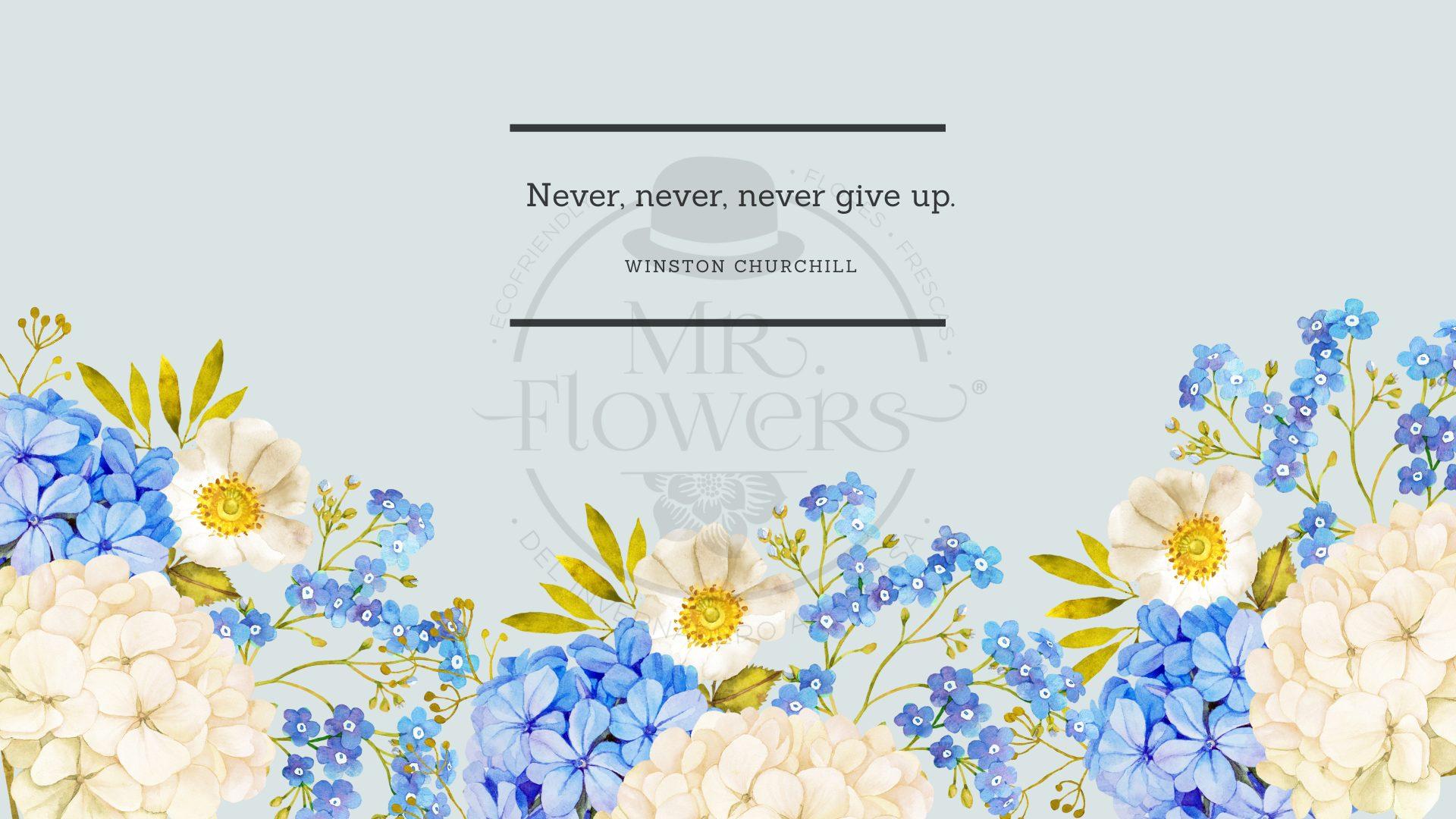 Blue Watercolor Flowers with Quote Desktop Wallpaper
