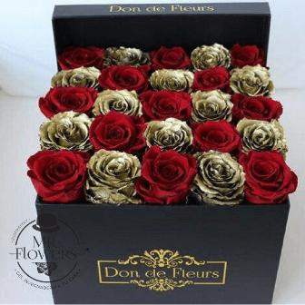 Caja con Rosas Doradas y Rojas