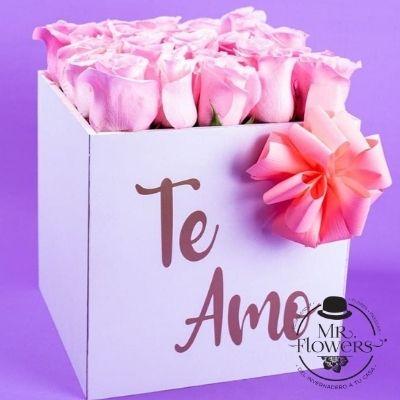 Caja con 24 rosas rosa