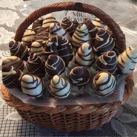 Canasta con 30 Fresas con Chocolate