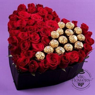 Corazón con Rosas y 16 Ferrero