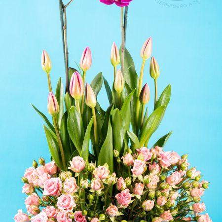 Arreglo Floral con Tulipanes, Orquídeas, y Mini rosas rosa